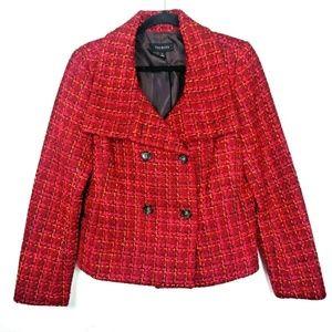 Talbots Raspberry Red Lined Tweed Pea Coat Jacket